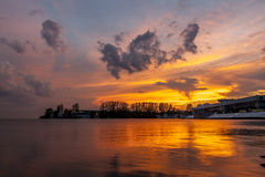 Gold Coast. Baltic evening,Golden sky and reflection,Romantic breeze Royalty Free Stock Photo