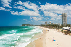 Gold Coast. With a beach full of tourists seen from above. Queensland, Australia Royalty Free Stock Image