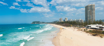 Gold Coast. With a beach full of tourists seen from above. Queensland, Australia. Panoramic photo Royalty Free Stock Photos