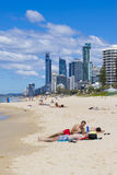 Gold Coast beach and skyscrapers Royalty Free Stock Image