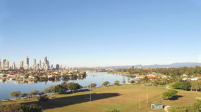 Gold Coast City, Nerang River and Hinterland. View looking south towards the Gold Coast City over the Nerang River towards the Hinterland Royalty Free Stock Images