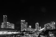 Gold Coast City By Night In BW. A night view of the beautiful city of Gold Coast, Queensland, Australia royalty free stock photos