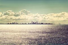 Gold Coast city skyline at sunset Royalty Free Stock Photos
