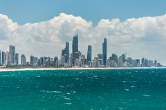 Gold Coast cityscape and Surfers Paradise beach. On sunny day Royalty Free Stock Photos