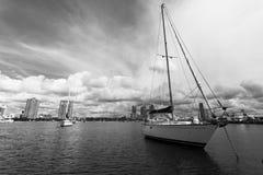 Gold Coast coastline, yacht royalty free stock images