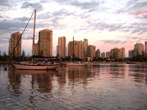 Gold Coast at Dusk. A pink dusk covers Main Beach on the Gold Coast, Australia Royalty Free Stock Photos