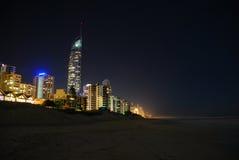 Gold Coast en la noche Imágenes de archivo libres de regalías