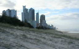 Gold Coast High Rises. The high rise buildings overlooking the beach at Broadbeach, Gold Coast, Australia Stock Photo
