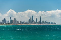 Gold Coast iconic skyline with Surfers Paradise beach. On sunny day. Ocean view Royalty Free Stock Photo