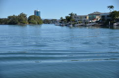 Gold Coast lakes. This is a picture taken at Gold Coast(Australia, Queensland) from the park along the river at Ferney Avenue in an area around Surfers Paradise Stock Image