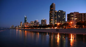 Gold Coast Night. Image taken of the gold coast at night time from the beach Royalty Free Stock Photography