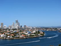 Gold Coast, Qld, Australia. Photograph of the Gold Coast Skyline, looking south over the Nerang River Stock Images