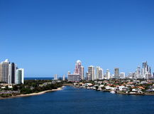 Gold Coast, Qld, Australia. Looking South East across the Nerang River from Southport to the Gold Coast skyline and coast Stock Photos