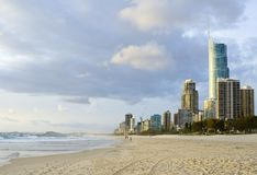 Gold Coast in Queensland Australia. Beach at Surfers Paradise in Gold Coast, Queensland Australia stock image