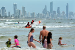 Gold Coast Queensland Australia. GOLD COAST, AUS - NOV 02 2014:Australian Lifeguards in action.They are world-renown for their high levels of skill and knowledge Stock Images