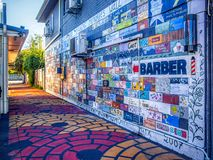 Gold Coast Queensland Australia October 19 2018 graffiti wall in alley way. On a sunny day royalty free stock photo