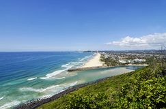 Gold Coast dream holiday miles sea surf, white sandy beaches Royalty Free Stock Photography