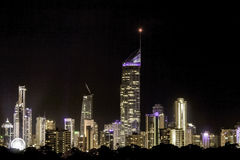 Gold Coast Skyline. The beautiful lights of the cool beach city seen on the resort balcony. This is Gold Coast City, QLD, Australia royalty free stock photography