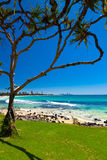 Gold Coast skyline and surfing beach visible from Burleigh Heads Royalty Free Stock Image