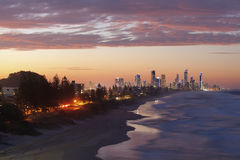 Gold Coast at sunset. Surfers Paradise and Broadbeach at sunset Stock Images