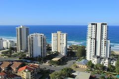 Gold Coast Surfers Paradise. Birds Eye View of Gold Coast city line with apartment buildings andbeaches in background Royalty Free Stock Images