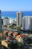 Gold Coast Surfers Paradise. Birds Eye View of Gold Coast city line with apartment buildings andbeaches in background Stock Image