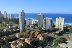 Gold Coast Surfers Paradise. Birds Eye View of Gold Coast city line with apartment buildings andbeaches in background Royalty Free Stock Photography