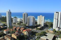 Gold Coast Surfers Paradise. Birds Eye View of Gold Coast city line with apartment buildings andbeaches in background Royalty Free Stock Photo