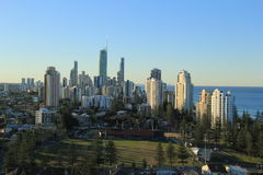 Gold Coast Surfers Paradise. Birds Eye View of Gold Coast city line with apartment buildings and city in background Stock Images