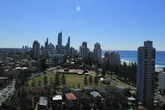 Gold Coast Surfers Paradise. Birds Eye View of Gold Coast city line with apartment buildings and city in background Stock Image