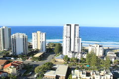 Gold Coast Surfers Paradise. Birds Eye View of Gold Coast city line with apartment buildings and trade center in background Royalty Free Stock Image