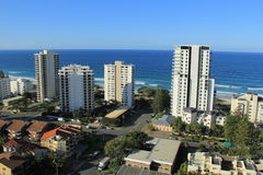 Gold Coast Surfers Paradise. Birds Eye View of Gold Coast city line with apartment buildings and trade center in background Royalty Free Stock Photography