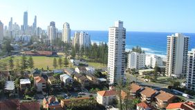 Gold Coast Surfers Paradise. Birds Eye View of Gold Coast city line with apartment buildings and trade center in background Stock Image