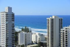 Gold Coast Surfers Paradise. Birds Eye View of Gold Coast city line with apartment buildings and trade center in background Royalty Free Stock Images