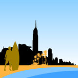Gold coast surfers paradise skyline. Vector illustration as silhouette of the australian city of gold coast skyline with palm trees and surfer, this is the Royalty Free Stock Photo