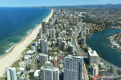 Gold Coast, Surfers Paradise. View over Surfers Paradise beaches from Q1 observation deck tallest residential apartment in the world, Gold Coast, Australia Stock Images