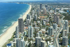 Gold Coast, Surfers Paradise. View over Surfers Paradise beaches from Q1 observation deck tallest residential apartment in the world, Gold Coast, Australia Royalty Free Stock Photography
