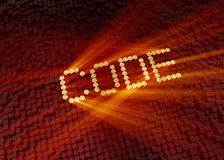 Gold code word with digital background stock images