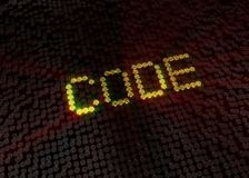Gold code word with digital background royalty free stock image