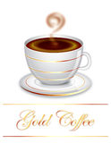 Gold Coffee. Modern, glossy and elegant coffee cup of porcelain and unique brown gold design. Best for coffee branding, icon object and others Stock Photos