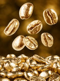 Gold coffee beans falling down Stock Images