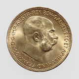 Gold coin. Showing austrian emperor Franz Joseph, coined 1915 Stock Images