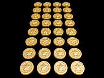 Gold coin. S with star symbol on dark background Stock Images