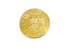 Gold Coin. Photo of a Golden Eagle Coin - American Currency royalty free stock photo