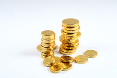 Gold Coin. A pile of gold coins isolated on a white background Stock Photography