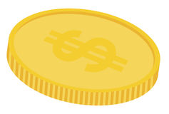 A gold coin. With dollar sign on top vector illustration