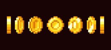Gold coin animation frames for 16 bit retro video game. Pixel art vector set. Illustration of money vintage cash 8bit vector illustration