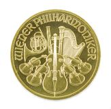 Gold coin Vienna Philharmonic Isolated. Gold coin Austria 1/2 ounce Vienna Philharmonic. Isolated stock image