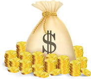 gold coin with bag of money Stock Image
