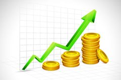 Gold Coin Bar Graph. Illustration of gold coin bar with graph and arrow on backdrop Stock Photography